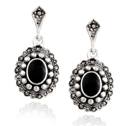 Glitzy Rocks Sterling Silver Marcasite And Onyx Oval Dangle Earrings