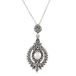 Glitzy Rocks Sterling Silver Marcasite Faux Pearl Antique Necklace