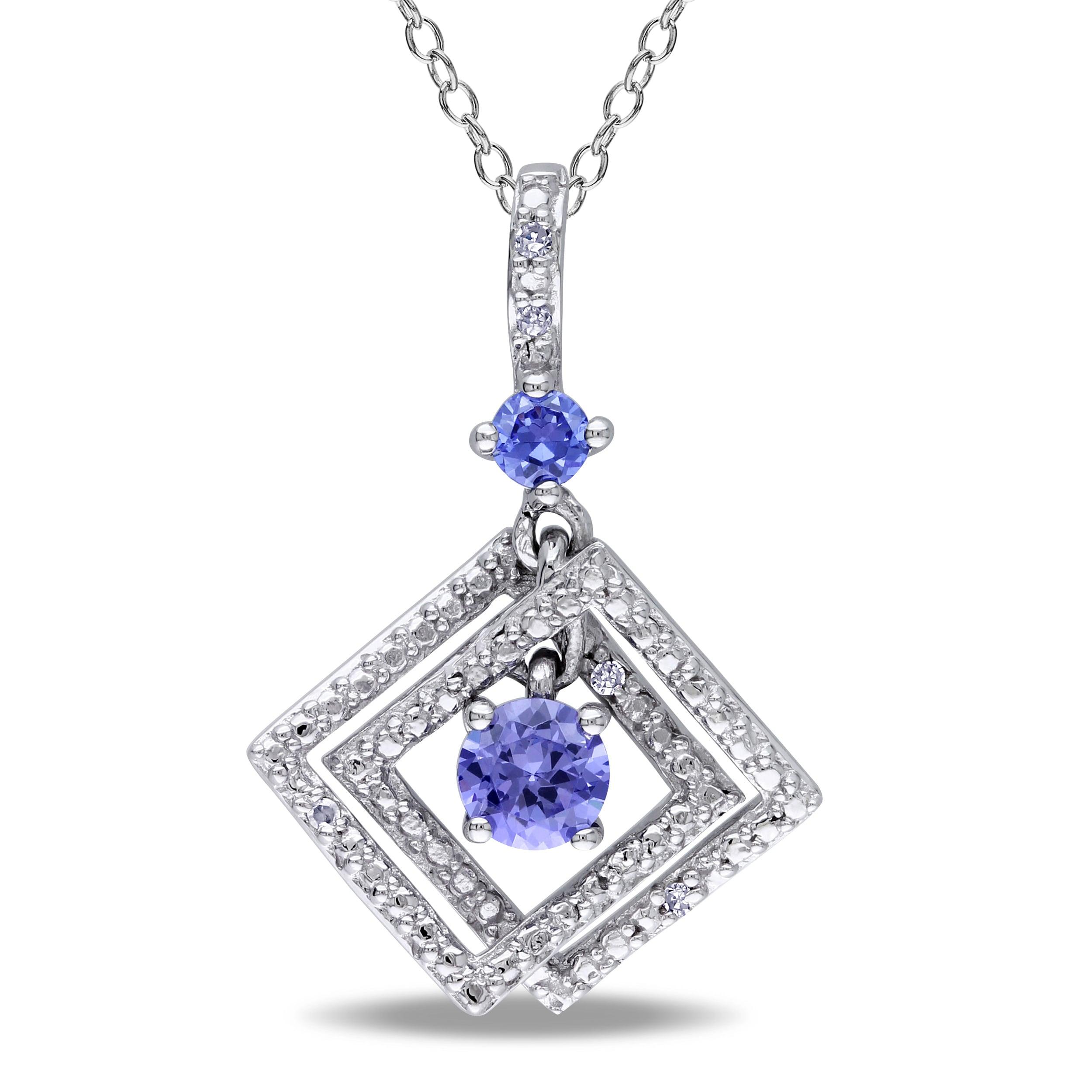 Miadora Sterling Silver Tanzanite and Diamond Accent Necklace (G-H, I1-I2)