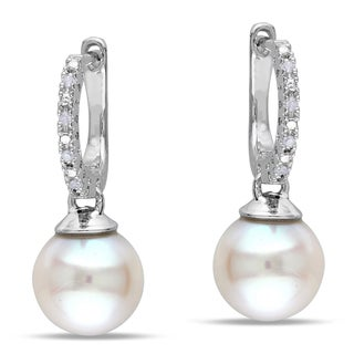 Miadora Sterling Silver Pearl and Diamond Accent Drop Earrings (H-I, I2-I3)