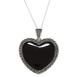 Glitzy Rocks Sterling Silver Marcasite and Black Onyx Heart Necklace