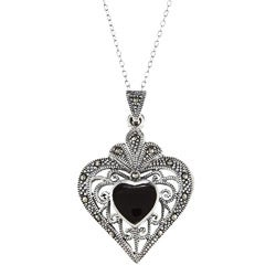 Glitzy Rocks Sterling Silver Marcasite and Black Onyx Filigree Heart Necklace