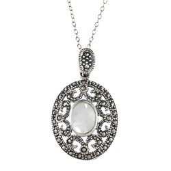 Glitzy Rocks Sterling Silver Marcasite and Mother of Pearl Filigree Oval Necklace