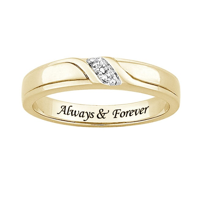 Sterling Silver or 18k Gold over Silver 'Always & Forever' Engraved Diamond Accent Wedding Ring - Thumbnail 1