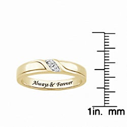 Sterling Silver or 18k Gold over Silver 'Always & Forever' Engraved Diamond Accent Wedding Ring - Thumbnail 2