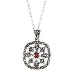 Glitzy Rocks Sterling Silver Marcasite and Red Cubic Zirconia Square Necklace