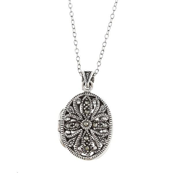 Glitzy Rocks Sterling Silver Marcasite Locket Necklace