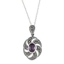 Glitzy Rocks Sterling Silver Marcasite Purple Cubic Zirconia Swirl Necklace