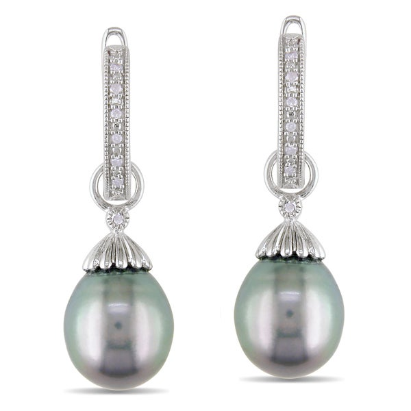 Miadora Sterling Silver Tahitian Black Pearl and Diamond Accent Drop Earrings (H-I, I2-I3)