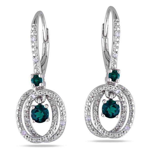 Miadora Sterling Silver Created Emerald and Diamond Accent Earrings (G-H, I1-I2)