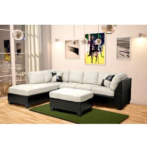 Mancini dark brown beige modern sectional sofa and for Mancini modern sectional sofa and ottoman set