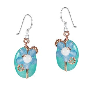 Handmade Sweet Daisy Aventurine Floral Nest Earrings (Thailand) - Blue
