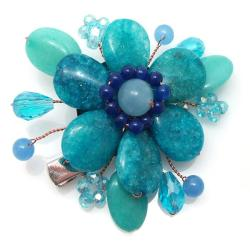 Handmade Floral Garland Blue Amazonite 2-in-1 Pin/ Hairclip (Thailand)