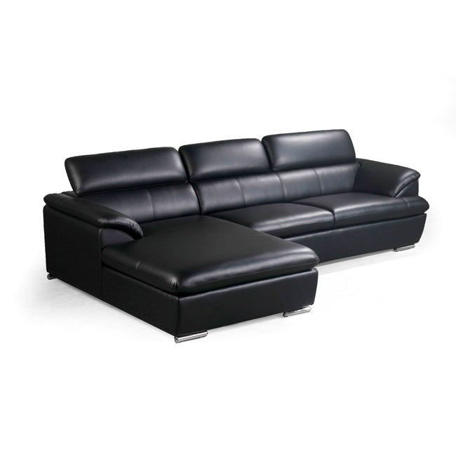 Black leather club chair - Franklin Black Modern Sectional Sofa With Adjustable