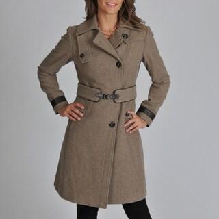 Ivanka Trump Women's Melton Wool Blend Coat with Leather Trim