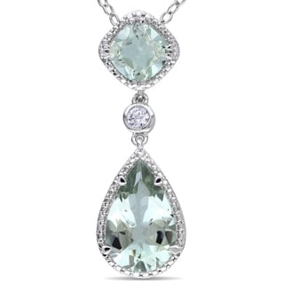 Miadora Sterling Silver White Sapphire or Green Amethyst Necklace