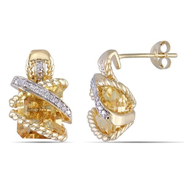 Miadora Rhodium Plated Silver Gemstone and 1/10ct TDW Diamond Earrings (H-I, I2-I3)