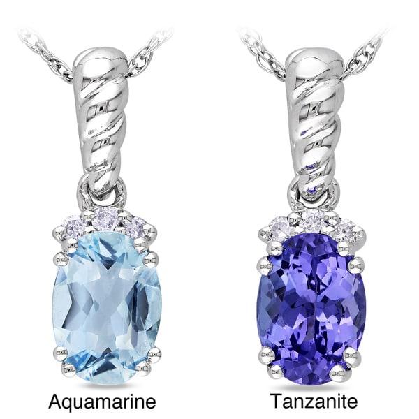 Miadora 10k White Gold Tanzanite/Aquamarine and Diamond Accent Necklace (G-H, I1-I2)