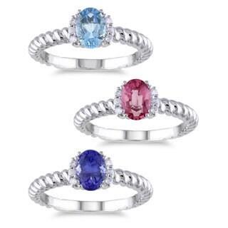 Miadora 10k White Gold Gemstone and Diamond Accent Ring (G-H, I1-I2)