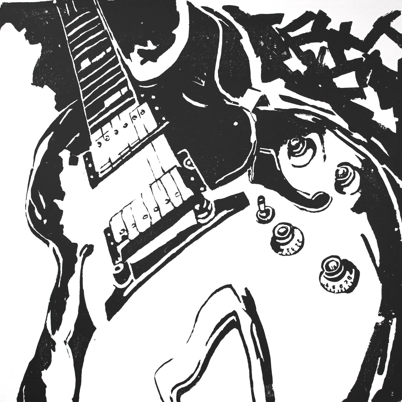 Art in Music 'Guitar in Black and White' Decoupage On Canvas Art