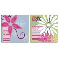Art in Style 'Wild Flowers' Medium Giclee On Canvas Art (Set of 2)