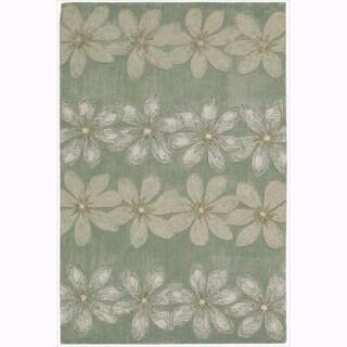 Nourison Hand-tufted Contours Floral Sage Rug (3'6 x 5'6)