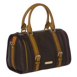 Burberry Medium Black/ Orange Leather Bowler Bag - Thumbnail 1
