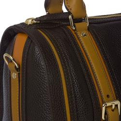 Burberry Medium Black/ Orange Leather Bowler Bag