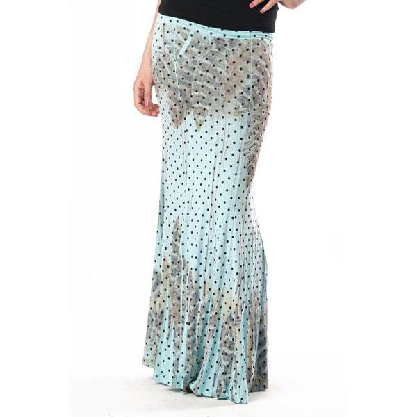 Tabeez Women's Feather Print Polka Dot Maxi Skirt