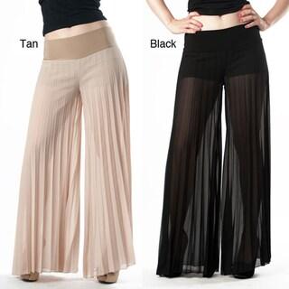 Tabeez Women's Sheer Pleated Wide Leg Pants