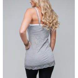 24/7 Frenzy Women's Light Grey Lace Trim Camisole