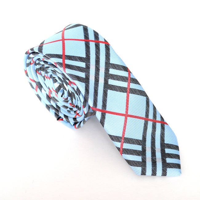 Skinny Tie Madness Men's Blue/ Red Plaid Skinny Tie