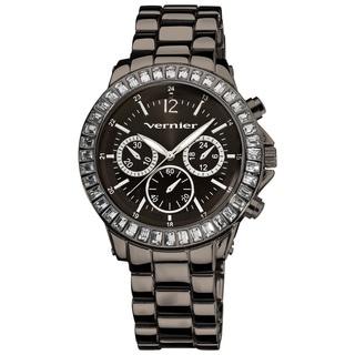 Vernier Women's Large Gun-Metal Chrono-Look Dial Dual Time Watch