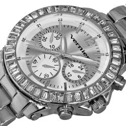 Vernier Women's Large Silver Chrono-Look Dial Dual Time Watch