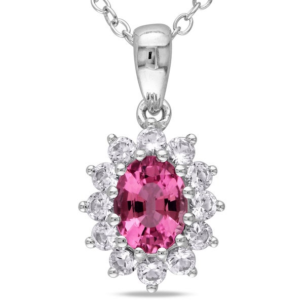 Miadora Sterling Silver Gemstone and White Sapphire Necklace