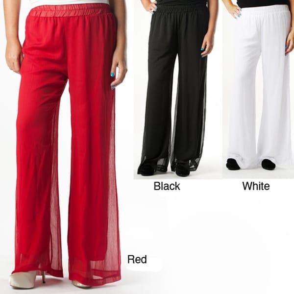 Tabeez Women's Plus Chiffon Wide Leg Pants