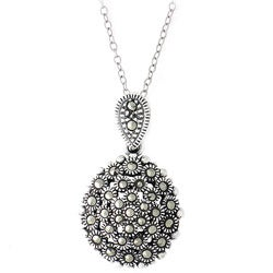 Glitzy Rocks Sterling Silver Marcasite Cluster Necklace