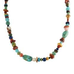 Journee Collection Silver Genuine Turquoise, Coral and Shell Bead Necklace|https://ak1.ostkcdn.com/images/products/6965417/80/309/Tressa-Silver-Genuine-Turquoise-Coral-and-Shell-Bead-Necklace-P14479289.jpg?impolicy=medium
