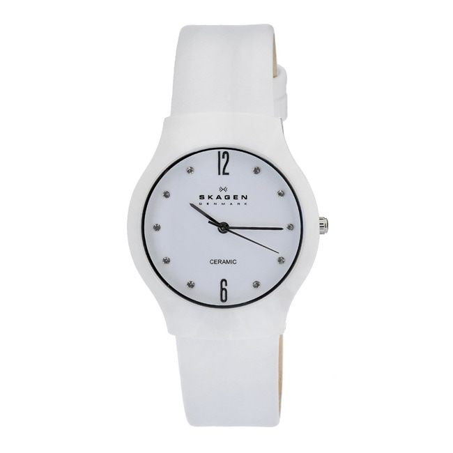 9a879008b Shop Skagen Women's White Ceramic Leather Strap Watch - Free Shipping Today  - Overstock - 6965420