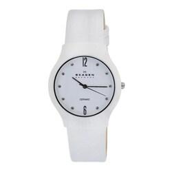 Skagen Women's White Ceramic Leather Strap Watch
