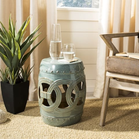 Safavieh Paradise Double Coin Blue-Green Ceramic Decorative Garden Stool