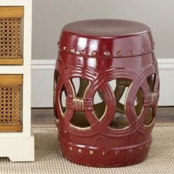 Safavieh Paradise Double Coin Red Ceramic Garden Stool