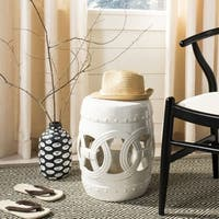 "Safavieh Paradise Double Coin White Ceramic Garden Stool - 13"" x 13"" x 17"""
