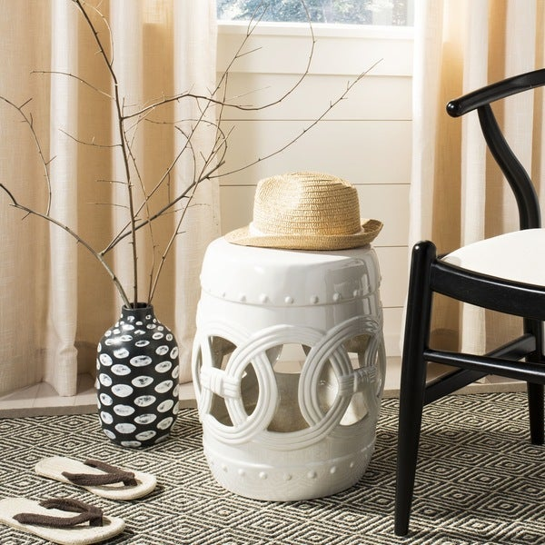 Captivating Safavieh Paradise Double Coin White Ceramic Garden Stool