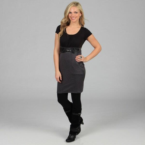 Stanzino Women's Charcoal/ Black Two Tone Short Sleeve Dress