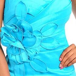 Stanzino Women's Spaghetti Strap Mini Dress with Floral Applique