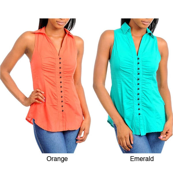 Stanzino Women's Collared Button Down Sleeveless Top with Tied Back Detail