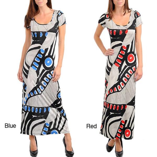 Stanzino Women's Short Sleeve Geometric Print Long Dress with X-back