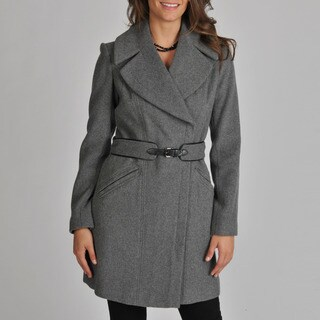 Vince Camuto Women's Grey Zip Belted Coat