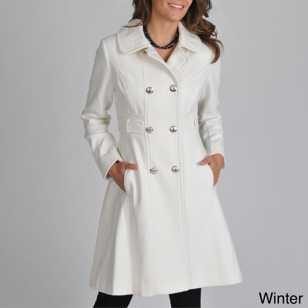Vince Camuto Women's Wool-blend Double-breasted Coat with Silver Buttons